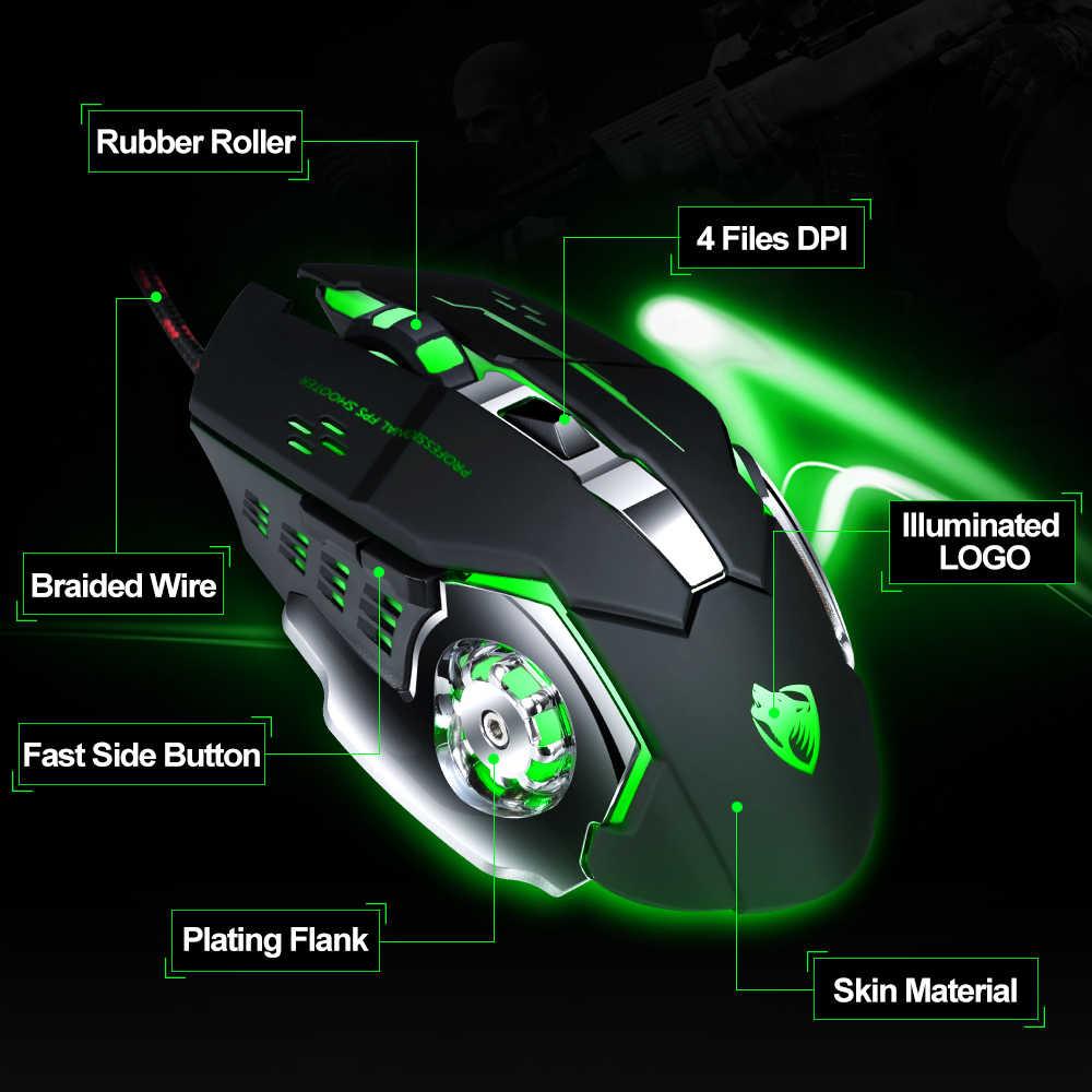 المهنية الألعاب ماوس 8D 3200 ديسيبل متوحد الخواص قابل للتعديل السلكية البصرية LED ألعاب الكمبيوتر لعبة الفئران كابل يو اس بي فأرة للحاسوب النقال PC
