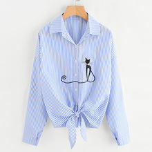 New Spring Autumn Shirts Women 2019 Work Elegant Cat Embroidered Shirt Casual Office Lady Long Sleeve Blouse Yellow White Tops sexy snake printed blouse shirt office lady puff sleeve casual shirts female elegant spring autumn blouse tops