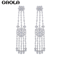 GAOLATrendy New Design Luxury Jewelry Long Crystal Silver Color Earrings For Women Wedding Accessories Vintage Style GLE5392