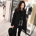 Mujeres otoño invierno Moda trench coat Vintage mujer delgada de Un Solo pecho damas abrigo de lana traje de lana de cuello parka LX6175