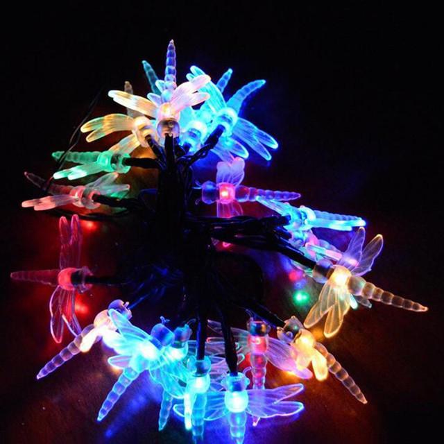 20 Ahorro de Energía LED de La Libélula Solar luz de Navidad LED Cadena de Luz de Lámpara 2016 Festival Fiesta de Navidad Al Aire Libre Jardín Decoración