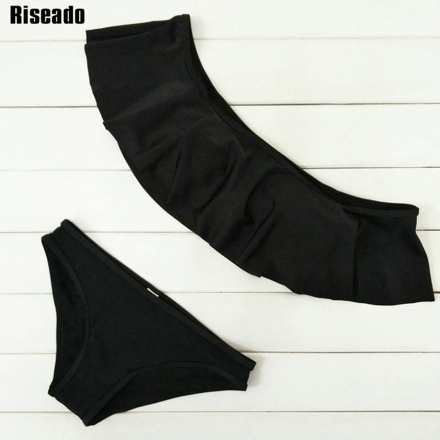 Riseado Summer Ruffle Bikini Set Swimwear Women Sexy 2017 Low Waist Bottom Swimsuit Beach Bathing Suits