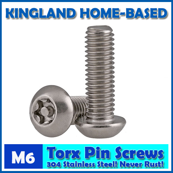 M6 Torx 6-Lobe Pan Round Head Six Lobe Pin In Torx Security Screw Bolt 304 Stainless Steel Pickproof Theftproof 100pcs lot st4 2 l stainless steel six lobe round head self tapping screw sus 304 torx screw torxstnp