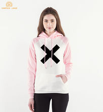 X & Wrong Letter Print Fleece Sweatshirts Women 2019 Spring Autumn Kawaii Kpop Raglan Hoodies Pink Harajuku Pullovers For Adult(China)