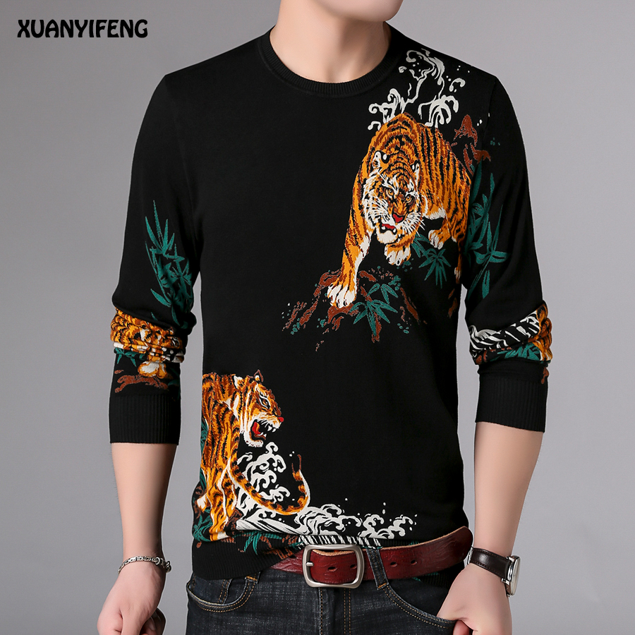 5ac97c527 Spring Mens Black Sweaters For Men Casual Sweaters Men Fashion Print Tigers  Man Knitted Sweater Knit Male Ropa De Caballero