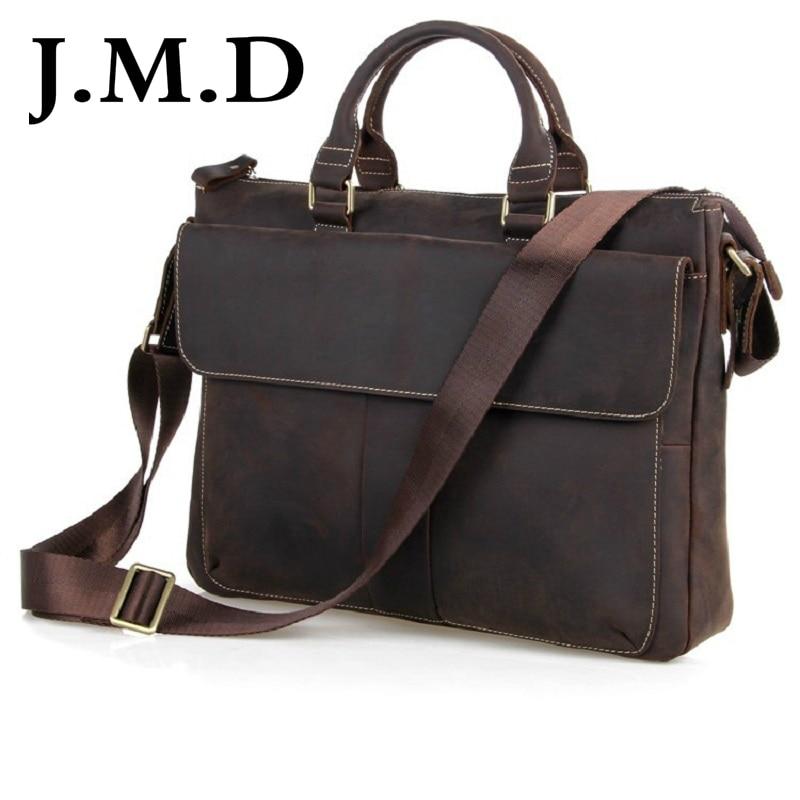 J.M.D 100% Men's Fashion Leather Bag Crazy Horse Leather Cross Body Briefcase Sling Bag Shoulder Messenger Bag 7113