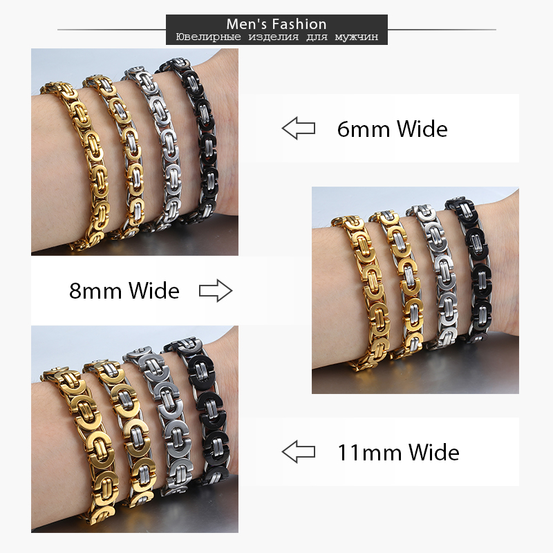 Davieslee Byzantine Chain Bracelet for Men Gold Black Silver Color Stainless Steel Mens Bracelets Jewelry 6/8/11mm LKBM31