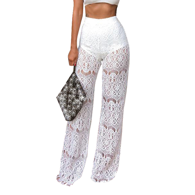 High Waist Wide Leg Pants Women Club Wear Party Sexy Pants See Through Sheer Hollow Out Loose ...