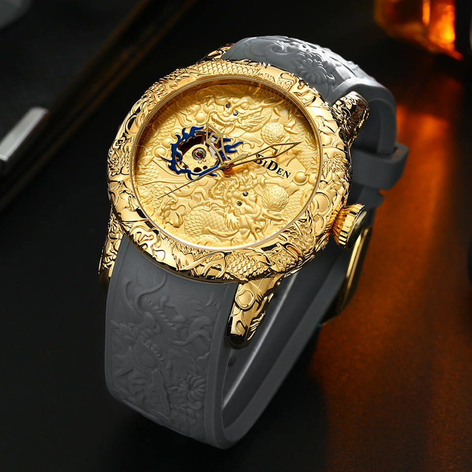 Luxury Dragon Skeleton Automatic Mechanical Watches For Men Wrist Watch Silicone Strap Gold Clock Waterproof Mens relogio luxury dragon hollow men s gold mechanical watch mens business watch automatic skeleton stainless steel band wrist watches clock