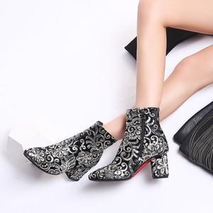 Image 3 - MORAZORA גבוהה באיכות לרקום נשים מגפי עבה גבוהה עקבים סתיו חורף מגפי אופנה נעלי גבירותיי נעלי קרסול מגפיים