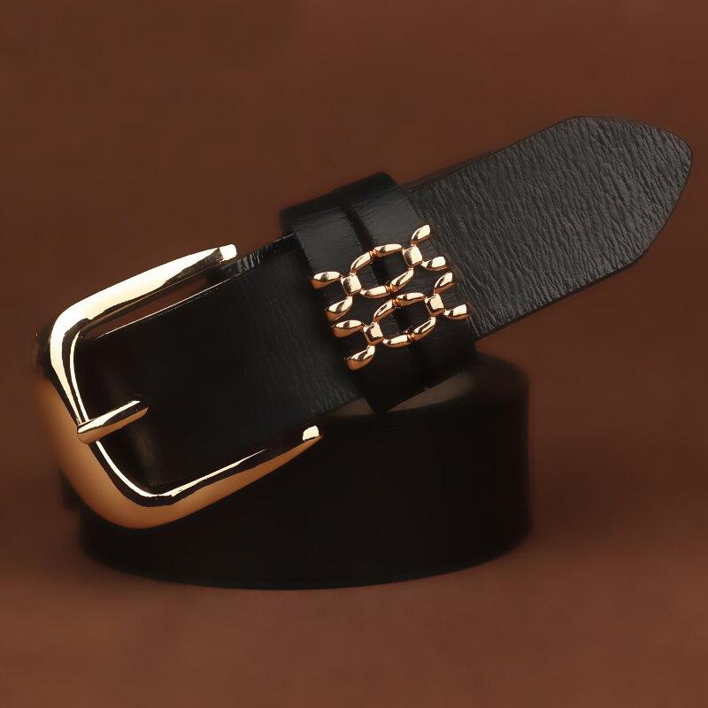 Female Genuine Leather   Belt   Cow Skin Women's   Belt   Black for Woman Jeans Designer Pin Buckle   Belt   Lady All Match Waist