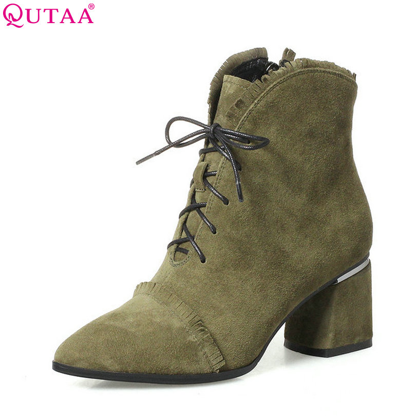 QUTAA 2018 Women Ankle Boots Lace Up Square High Heel Pointed Toe Black Elegant Genuine Leather Women Ankle Boots Size 34-42 qutaa black thin high heel woman pu leather ankle boots elegant women shoes lace up ladies motorcycle boots size 34 43