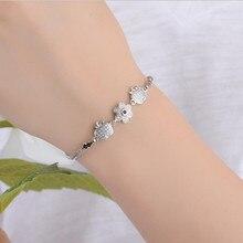 LUKENI Top Quality 925 Sterling Silver Female Anklets Jewelry Cute Crystal Apple Flower Women Bracelets Accessories Lovers Gift