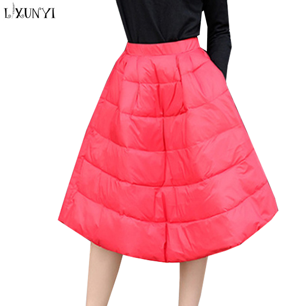 LXUNYI 2019 Autumn Winter White Duck Down Skirt Women Elastic Waist Ball Gown Skirt Female High Waist A Line Skirts Ladies Red