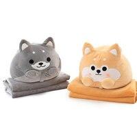 Cute Dog Plush Toy Shiba Inu Shape Stuffed Pillow Animal 2 In 1 Cushion With Blanket