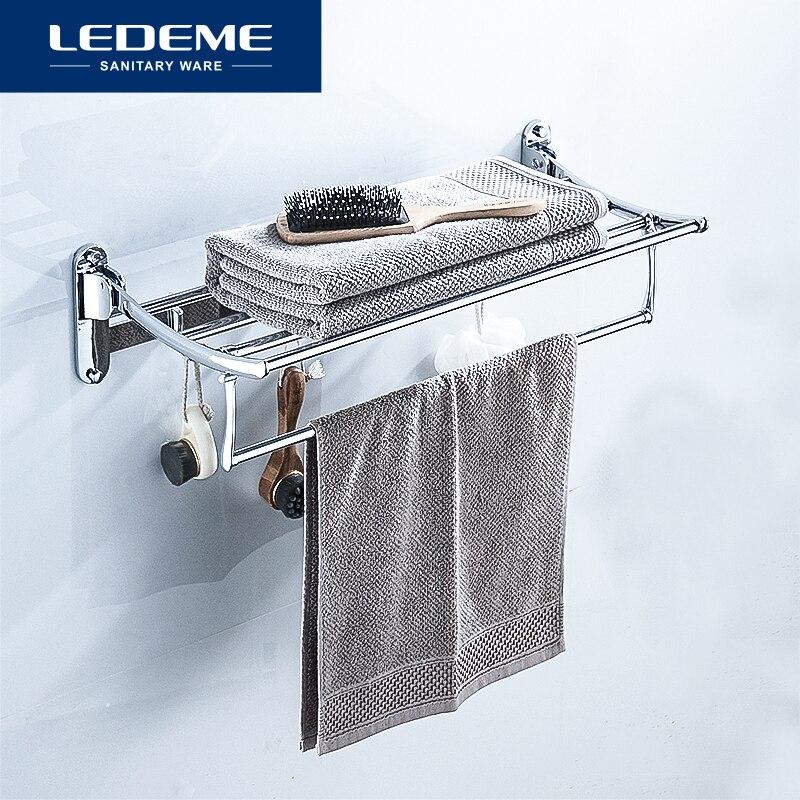 Ledeme toalha de banho toalheiro fixado na parede titular toalha de banho duplo trilhos titular simples chrome toalheiros comprimento 60cm l809