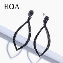FLOLA negro pequeña pendiente aro para mujer lágrima de diamante de imitación de cristal pendiente circular negro joyería de moda pendientes de aro ersp02