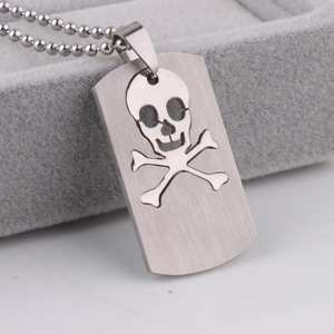 Skeleton Square tags pendant necklaces bead chain for men women 316L Stainless Steel necklace wholesale