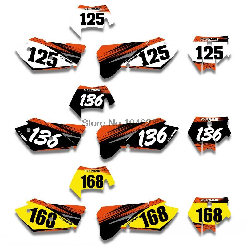 For KTM SXF MXC SX EXC 2005 2006 2007 Custom Background Number Plate Graphics Sticker & Decals l r aluminum radiator for ktm 400 450 525 540 sx exc mxc 2003 2007 2004 2005 2006