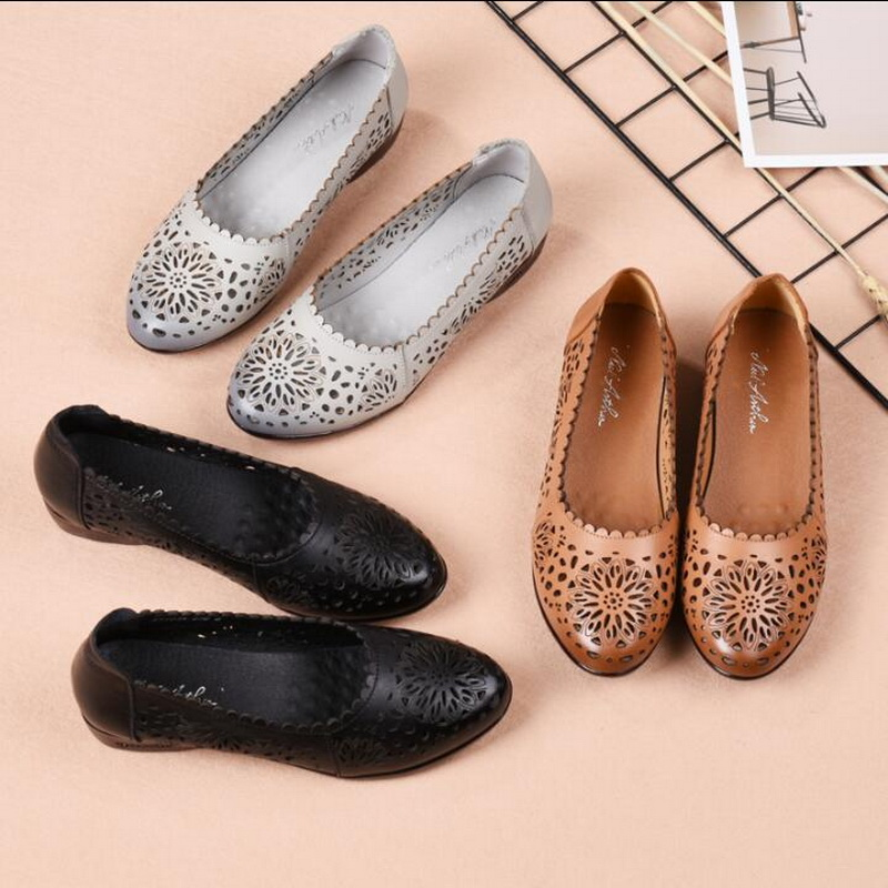 RUSHIMAN Spring Shoes Women Genuine Leather Flat Shoes Retro Female Ballet Flat Shoe Summer Lady Hollow