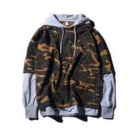 2017 Hoodies Men Sudaderas Hombre Hip Hop Mens Brand Camouflage Hooded Gray Hoodie Sweatshirt Slim Stitching