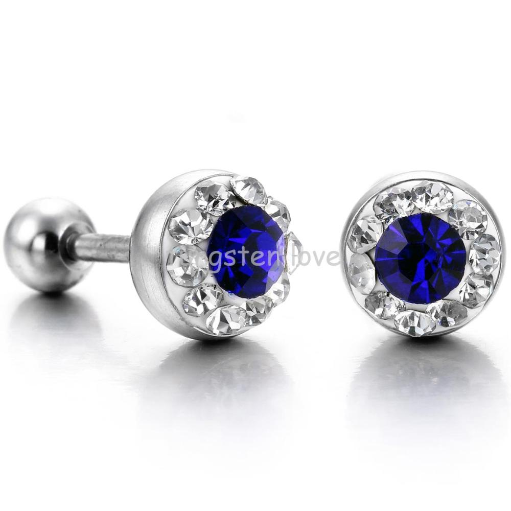 earrings zircon hop hip crystal jewelry hiphop round high women color cubic mens stud silver s men rock product zirconia sapphire cz store gold quality copper