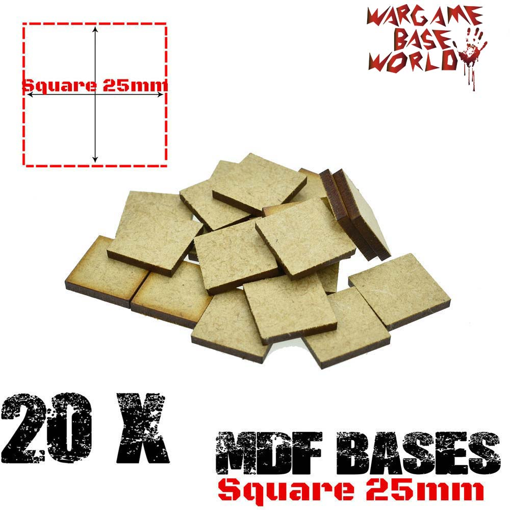 MDF Bases - 25mm Square Bases- Laser Cut Wargames Wood