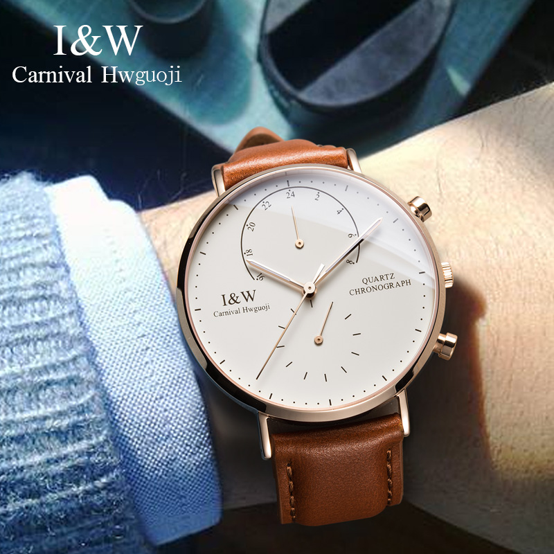 Carnival I&W Ultra-Thin Quartz Watch Men Leather Strap Chronograph Mens Watches Top Brand Luxury Switzerland Clock kol saati  Carnival I&W Ultra-Thin Quartz Watch Men Leather Strap Chronograph Mens Watches Top Brand Luxury Switzerland Clock kol saati