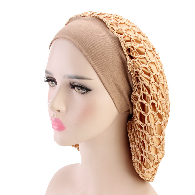 New Women Hats Satin Bonnet Mesh Snood Night Sleep Cap Shape Newest Popular Style Turban