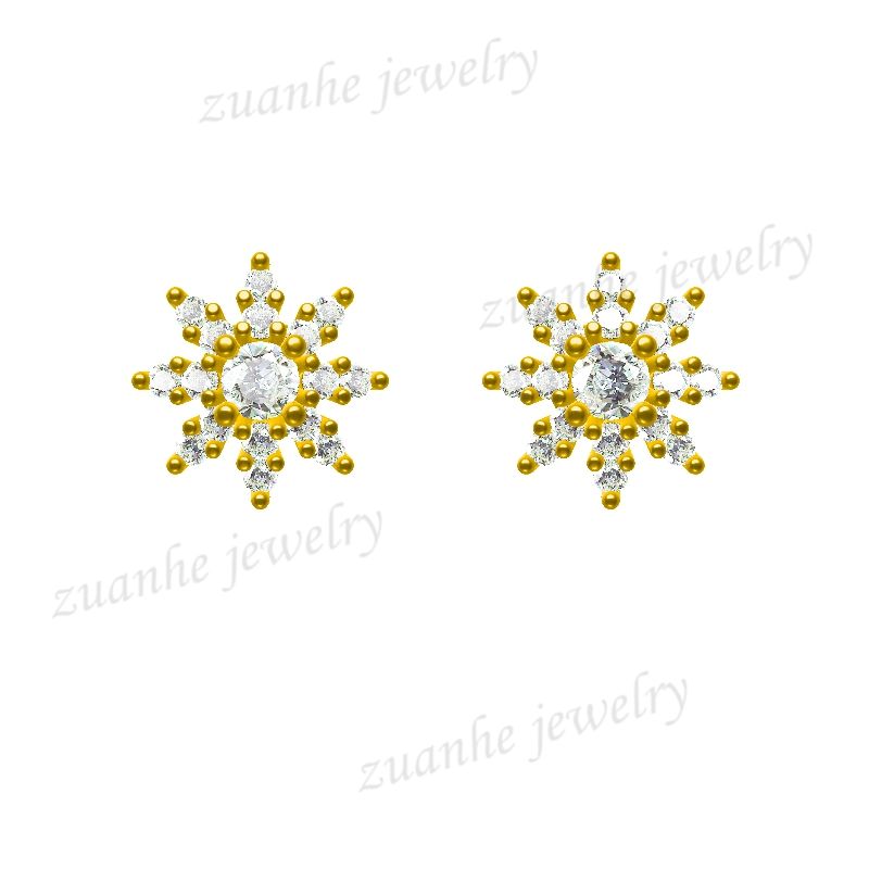Solid 14k Yellow Gold Diamonds Stud Earrings Charm Snow Shape Bridal Jewelry 0 28 ct natural diamonds earrings solid 14k white gold snow shape charm jewelry