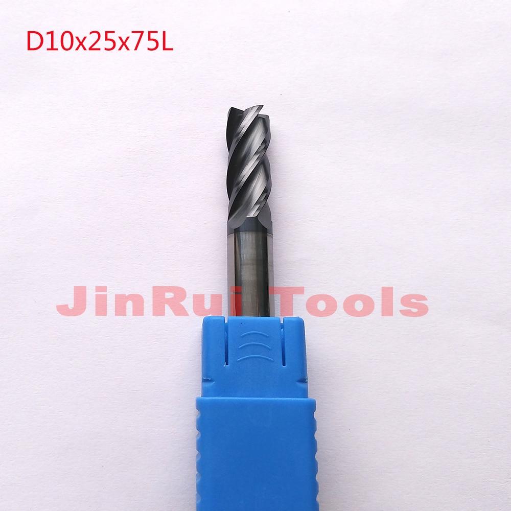 1pc  D10*25*75L HRC60 4 Flutes Flat Square  Solide Carbide End Mills CNC router bit milling cutter Tools knife fresa 1pc d3 8 50 hrc60 2 flutes flat square solide carbide end mills cnc router bit milling cutter knife