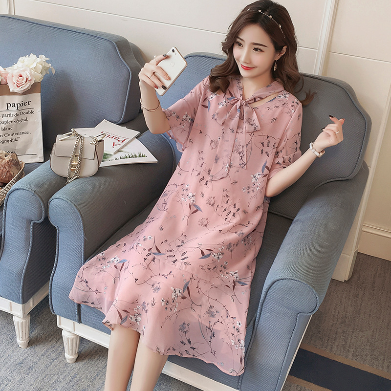 Summer Maternity dresses 2018 fashion new loose floral chiffon in the long short sleeve pregnant women dress pregnancy clothes