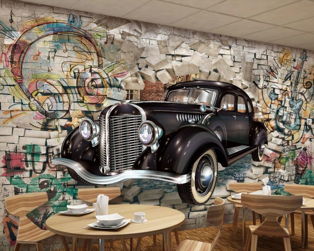 100% Kwaliteit Papel De Parede Vintage Klassieke Auto Door De Muur 3d Behang Voor Woonkamer Tv Bank Muur Slaapkamer Keuken Restaurant Bar Geurig Aroma