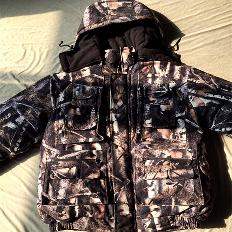 Men Winter Thick Warm Waterproof Breathable Multi Pocket Jackets Bionic Jungle Camouflage Jacket Field Hunting Camouflage