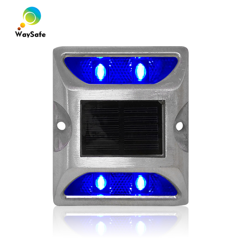 New Arrival Blue LED Flashing Light Aluminum With 3M Reflective Solar Road Stud