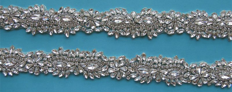 (10 YARDS) Wholesale bridal beaded silver crystal rhinestone applique trim iron on for wedding evening dress sash WDD0381-in Rhinestones from Home & Garden    2