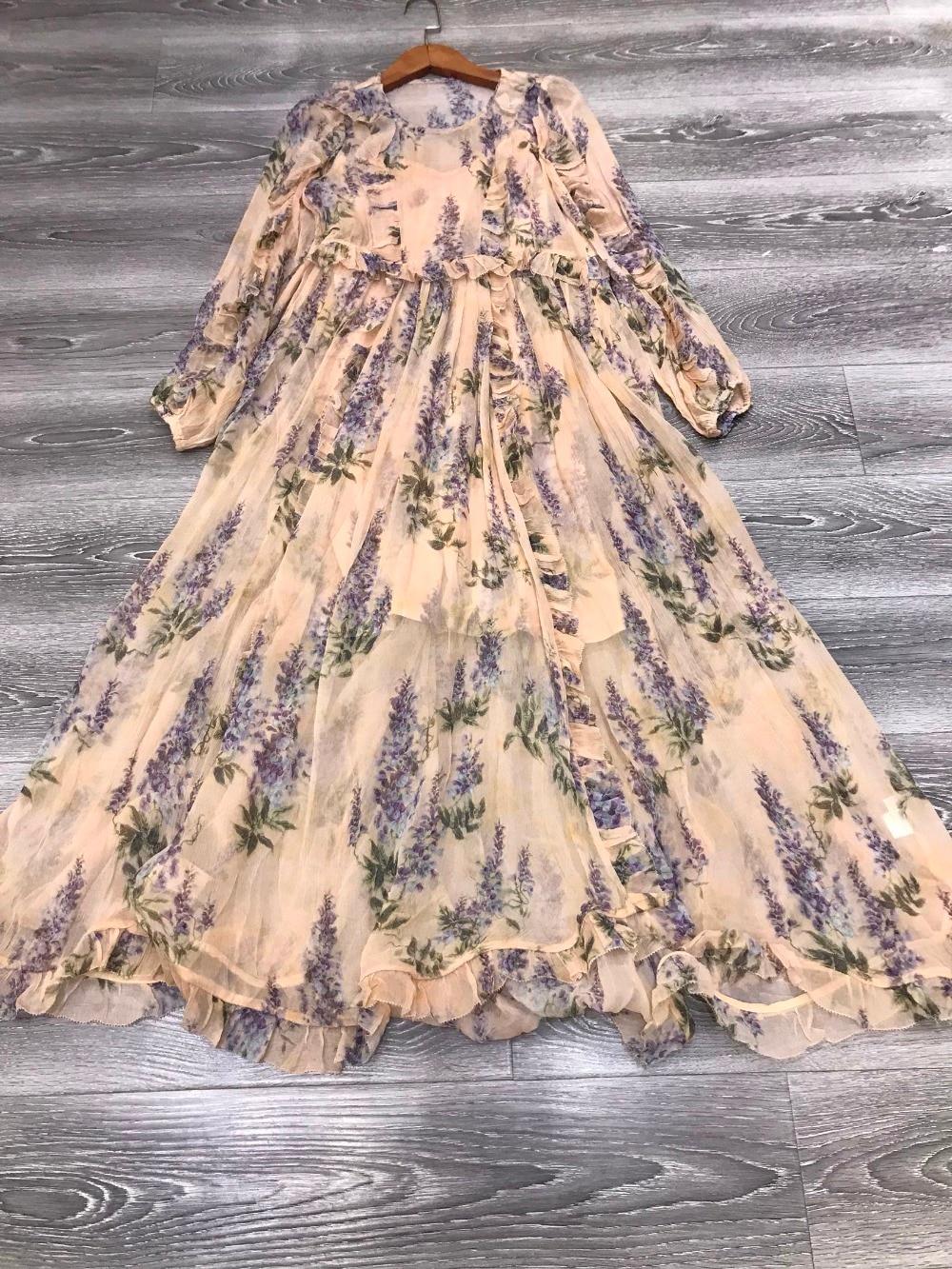 Femmes Long Blousen Manches Floral Soie Georgette Folie Plumeux Robe Ruches Sheer Midi Robe Avec UN Correspondant Slip