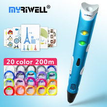 myriwell 3d pen 3d pens,1.75mm ABS/PLA Filament, 3d model,Creative 3d printer pen-3d magic pen,Best Gift for Kids,pen 3 d myriwell 3d pen rp 100b with pla abs filament 200m 3d printer pen 3 d pen free fingersleeve drawing tool the best child gift