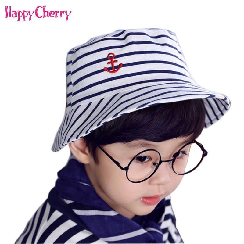 7b78869d Baby Boy's Stripes Bucket Fisherman Hats Children Outdoor Beach Sun Cap  Summer Newborns Kid Broad Brim