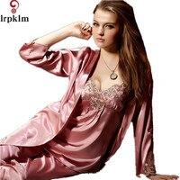 Women Sexy Imitated Silk Fabric Pajamas 3Pcs Sets Lace Pyjamas Sleepwear Loungewear Lady Nightwear Nightgown Plus