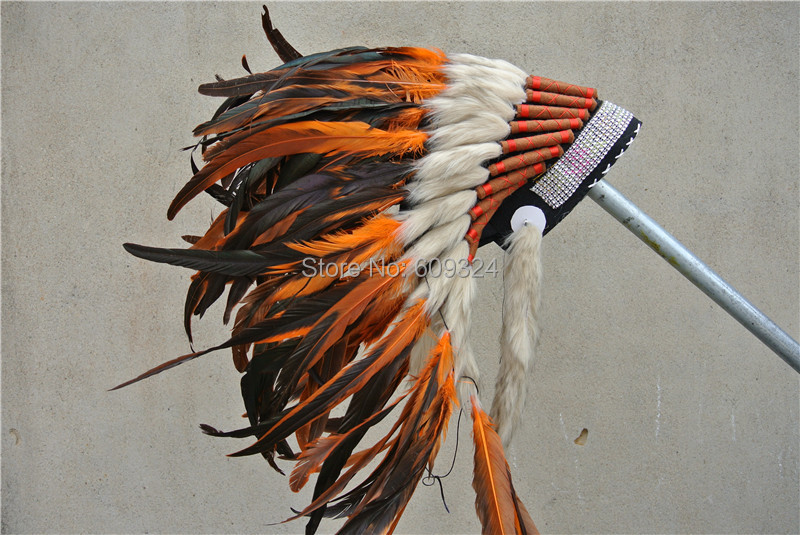21inch high orange Feather headdress feather hat headpiece costumes halloween party costume decor