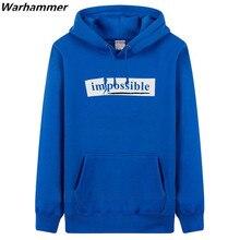 Warhammer GEEK Programmer Hoodies Men Printed IMPOSSIBLE Winter Thick Cotton Fleece Programmer Hoodies Pullover Black Tracksuits