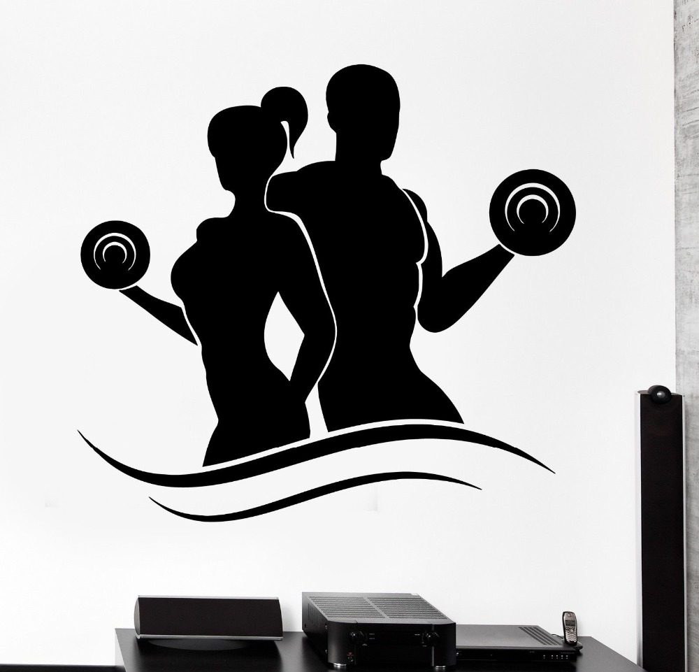 Sports Wall Sticker Fitness Bodybuilding Dumbell Barbell Gym Vinyl Decal Removable sports decals for Living Room KW-198