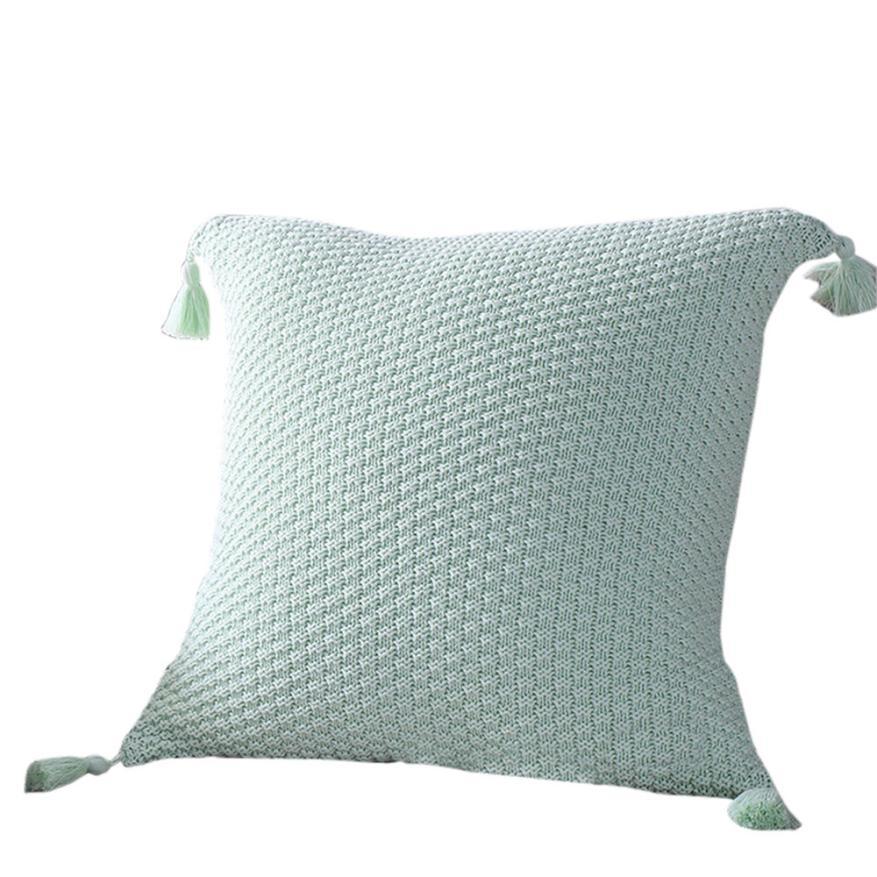 Nordic Style Knitting Tassel Pillow Case Acrylic Fibres Pillowcase Delectable Decorative Tassel Pillows