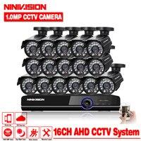 HD 16 каналов 1080 P AHD видеорегистратор комплект видеонаблюдения камеры безопасности Крытый 1.0MP 2000TVL CCTV Системы 16CH DVR системы