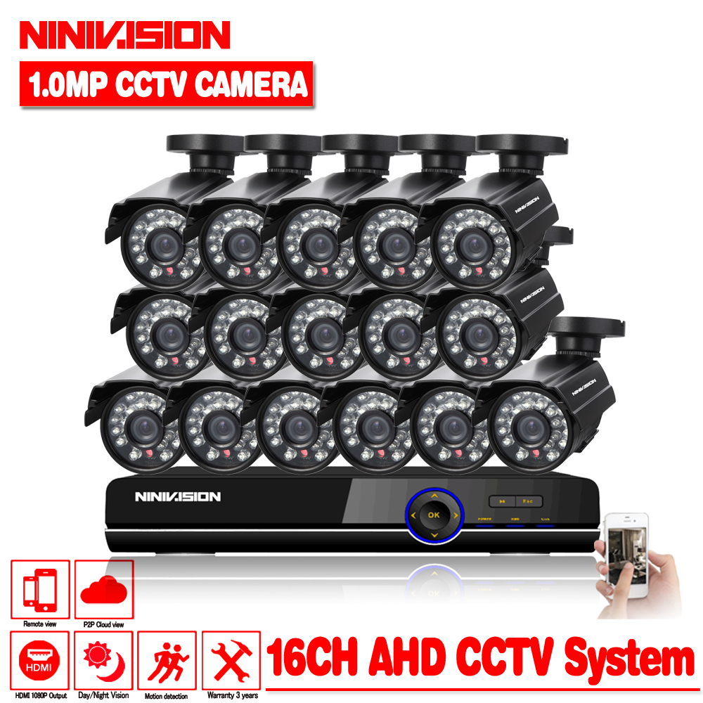 HD 16channel 1080p AHD DVR kit Video surveillance camera Security outdoor Indoor 1.0MP 2000TVL CCTV System 16CH DVR system full hd 16 channel 1080p ahd dvr kit 16pcs video surveillance security outdoor indoor 720p camera 1 0mp camera 16ch cctv system