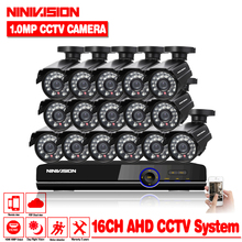 HD 16channel 1080p AHD DVR kit Video surveillance camera Security outdoor Indoor 1.0MP 2000TVL CCTV System 16CH DVR system