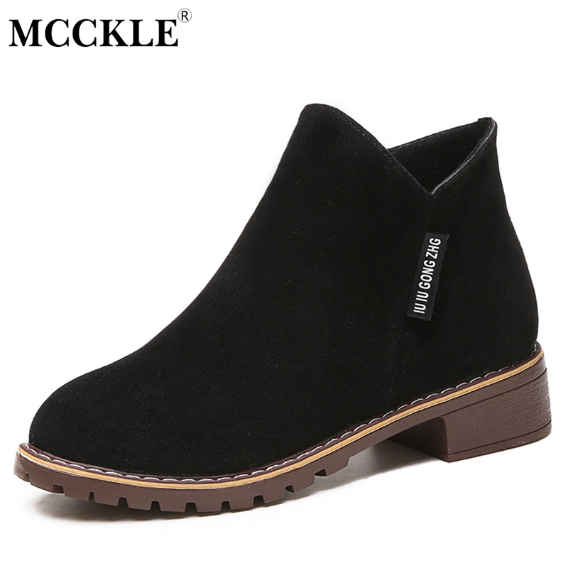 MCCKLE Ankle Boots Female Square Low Heels Zipper Scrub Platform 2017 Women's Autumn Shoes Ladies Black Short Boots For Woman anmairon winter autumn shoes woman low heels ankle boots women nubuck zipper buckle platform short boots black