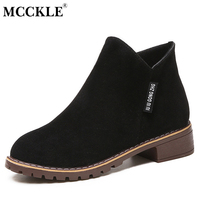 MCCKLE Female Fashion Slip On Low Heel Sewing Flock Platform Ankle Boots 2017 Women S Casual