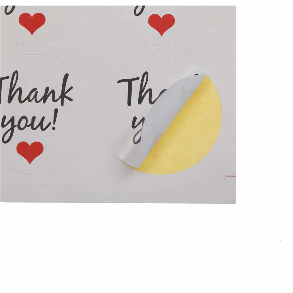 MYPANDA 120ชิ้น/10แผ่น3.5เซนติเมตรรอบสีขาวขอขอบคุณปิดผนึกสติกเกอร์สีแดงหัวใจเครื่องเขียนสติ๊กเกอร์ของขวัญคริสต์มาส